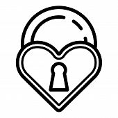 Love Closed Padlock Icon. Outline Love Closed Padlock Vector Icon For Web Design Isolated On White B poster