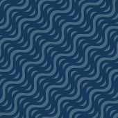 Vector Seamless Pattern, Diagonal Wavy Lines, Curved Stripes, Waves. Simple Dark Blue Background. Ab poster