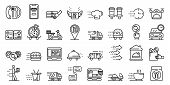 Food Delivery Service Icons Set. Outline Set Of Food Delivery Service Vector Icons For Web Design Is poster