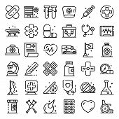 First Medical Aid Icons Set. Outline Set Of First Medical Aid Vector Icons For Web Design Isolated O poster