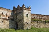 Ruins Of Stare Selo Castle, Wall And Tower Against The Blue Sky. Fortress In Stare Selo, Lviv Region poster