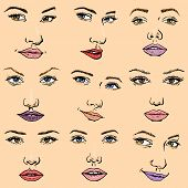 Woman Face Vector Female Facial Portrait Of Beautiful Girl Fashion Faced Care And Beautiful Women Fa poster