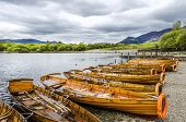 A Row Of Rowing Boats At The Lake Edge At Derwent Water Lined Up Ready For Tourist To Go Rowing On T poster