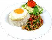 Kra Paow Kai Kai daow rad Kaow (Thai Spicy Chicken Basil with eggs over rice) poster