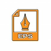 Orange Eps File Document Icon. Download Eps Button Icon Isolated On White Background. Eps File Symbo poster