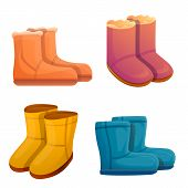 Ugg Boots Icons Set. Cartoon Set Of Ugg Boots Vector Icons For Web Design poster