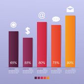 Bar Chart Graph Steps Diagram Statistical Business Infographic Illustration poster