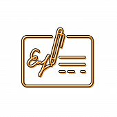Orange Signed Document Line Icon Isolated On White Background. Pen Signing A Contract With Signature poster