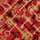 Skeleton Key Pattern_Red