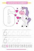 Funny Children Flashcard Number Six. Unicorn With Hearts Learning To Count And To Write. Coloring Pr poster