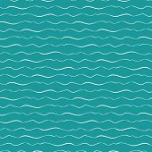 Abstract Hand Drawn Doodle Sea Waves With Varying Thickness. Seamless Geometric Vector Pattern On Oc poster