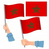 Morocco Flag In Hand. Patriotic Background. National Flag Of Morocco  Illustration poster