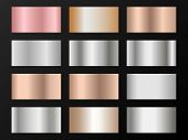 Silver, Platinum, Copper, Bronze, Pink Gold Gradients. Metallic Foil Texture Silver, Steel, Chrome G poster
