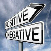 picture of positive negative  - positive thinking or think negative positivity or negativity is all in the mind optimistic or pessimistic look at sunny side of life is a good attitude - JPG