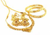 stock photo of bangladesh  - Wedding gold necklace with earrings and bracelets of Indian subcontinents - JPG
