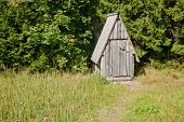 image of outhouses  - A wooden outhouse in the greenery for fresh - JPG