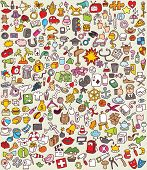 stock photo of xxl  - XXL Doodle Icons Set  - JPG