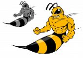 stock photo of wasp sting  - Danger yellow hornet with sting in cartoon style for mascot design - JPG
