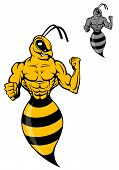 stock photo of hornet  - Powerful wasp or yellow hornet in cartoon style for mascot - JPG