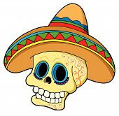 Mexican Skull In Sombrero