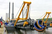 stock photo of dredge  - New dredge ship in the Dutch shipyard - JPG
