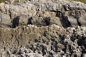 foto of sandblasting  - Coastal rocks eroded by the sea with cliff in the background - JPG