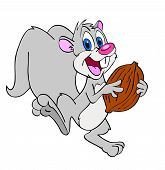 picture of buck teeth  - hand drawn happy cartoon squirrel with a nut - JPG