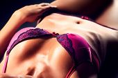 picture of bosoms  - Beautiful body of a sexual woman in lingerie over black background - JPG