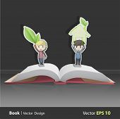 picture of pop up book  - Kids holding ecological icons inside pop - JPG