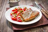 foto of shoulder-blade  - Meat steak with vegetables on a plate - JPG
