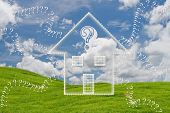stock photo of home addition  - Illustration Question About Home on grass field - JPG