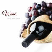 stock photo of grape  - Bottle of red wine and freshly harvested grape - JPG