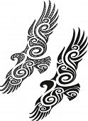 stock photo of maori  - Maori styled tattoo pattern in a shape of eagle - JPG