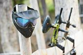 stock photo of paintball  - Equipment for paintball playing - JPG