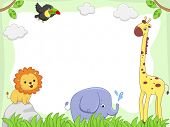stock photo of jungle animal  - Frame Illustration Featuring Cute Jungle Animals - JPG