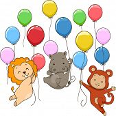 stock photo of chimp  - Illustration of Cute Jungle Animals Holding on To Colorful Balloons - JPG