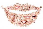 stock photo of lipstick  - Smile collage of perfect smiling faces closeup - JPG