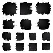 stock photo of stroking  - Vector set of grunge squared watercolor brush strokes - JPG
