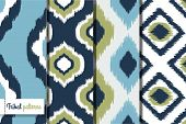stock photo of indian blue  - Retro ikat tribal seamless patterns - JPG