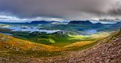 image of boggy  - Panoramic view of Inverpolly mountains area in highlands of Scotland United Kingdom - JPG