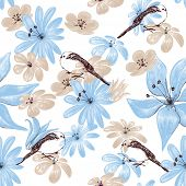 Floral seamless pattern with birds