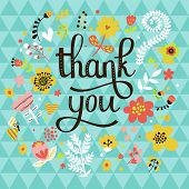 Thank you! Bright cartoon card made of flowers and butterflies. Floral background in summer colors
