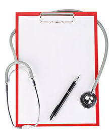 foto of medical equipment  - Medical clipboard with blank paper for messages and a stethoscope - JPG