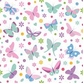 foto of baby easter  - butterflies flowers hearts and dots illustration on white background - JPG