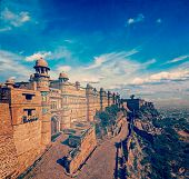 Vintage retro hipster style travel image of India tourist attraction - Mughal architecture - Gwalior