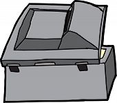 foto of rear-end  - Rear of open black multifunction copy machine - JPG