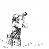 Sketch of Photographer Vector