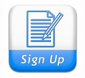 stock photo of petition  - sign up or apply now icon and subscribe here for membership - JPG