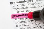 foto of grammar  - Grammar Dictionary Definition closeup highlighted in pink - JPG