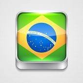 vector 3d style flag icon of brazil
